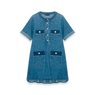 Short denim dress with short sleeves - Dresses - MAJE
